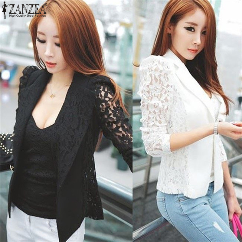 ZANZEA Women Blazer Feminino 2018 Spring Autumn Sexy Lace Crochet Long Sleeve Elegant Jacket Singer Button Fitness Work Blazers