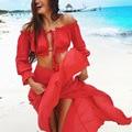 Las mujeres de dos piezas set beach summer dress 2017 verano playa party dress off hombro de la gasa roja de largo maxi dress vestidos E617