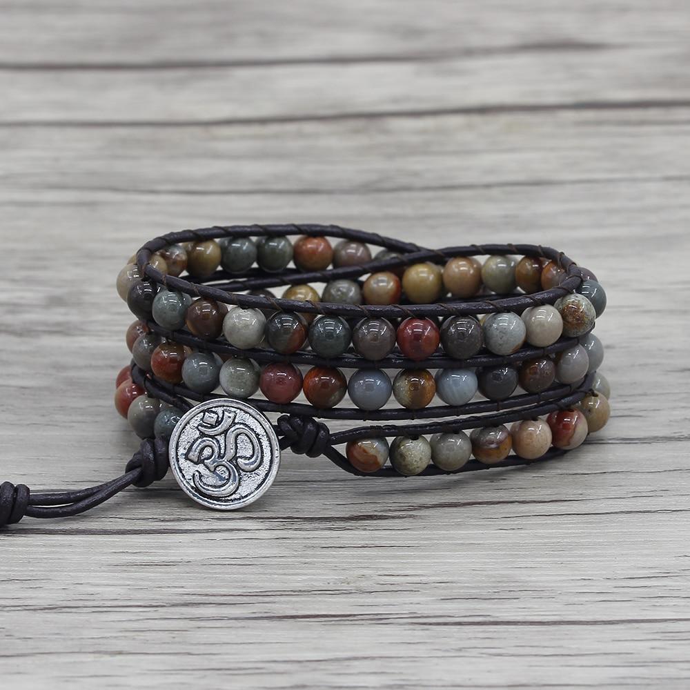 Ocean beads bracelet leather wraps beaded bracelet ocean natural stone beaded bracelet bohemian friendship dropshipping