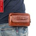 Nuevos Hombres de Cuero Genuino Real Del Grano Del Cocodrilo de Celular/Teléfono Móvil Cubierta caso de Bolsillo Cinturón de Cadera Bum Fanny Pack de Cintura Bag Padre regalo