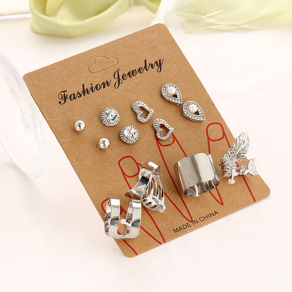 12pcs ring and earring set for women stud ear ring and finger ring set fashion jewelry f ...