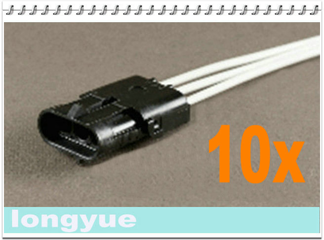 longyue 10pcs 3-Way male comnector pig tail Weather Pack Wire Harnesses 25cm wire