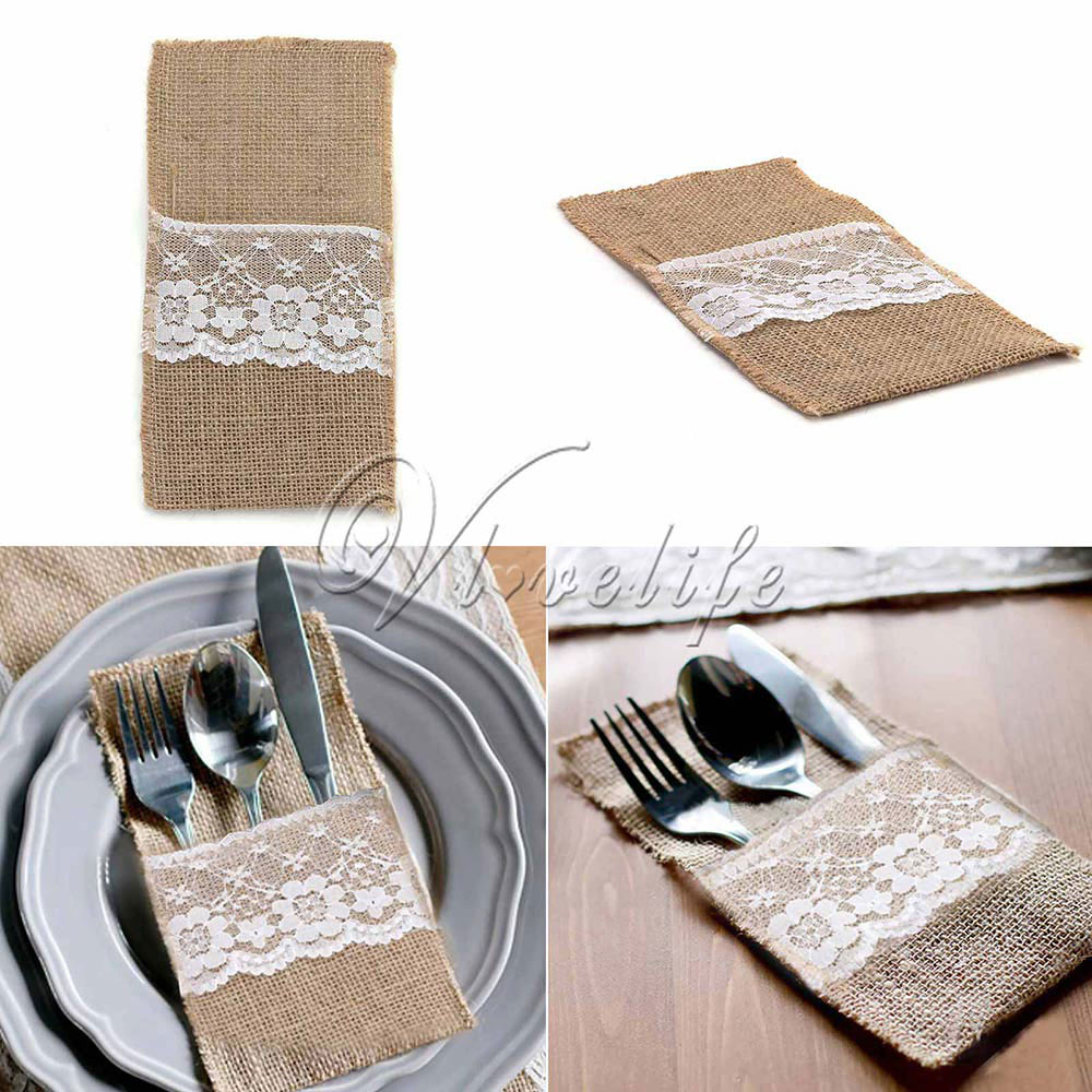 100pcslot 4x8 hassian burlap lace tableware bag for wedding xmas paryt home decoration dining table knife fork silverware bags