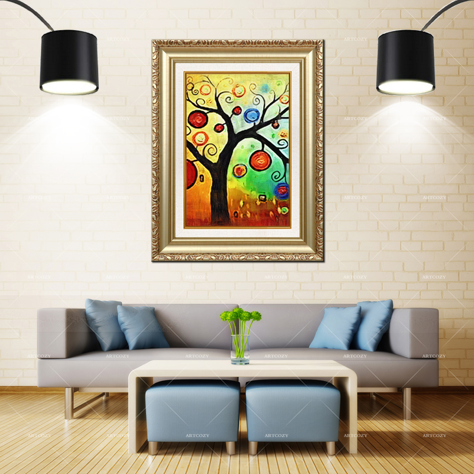 Artcozy Golden Frame Abstract arbre de vie peinture Waterproof Canvas PaintingArtcozy Golden Frame Abstract arbre de vie peinture Waterproof Canvas Painting