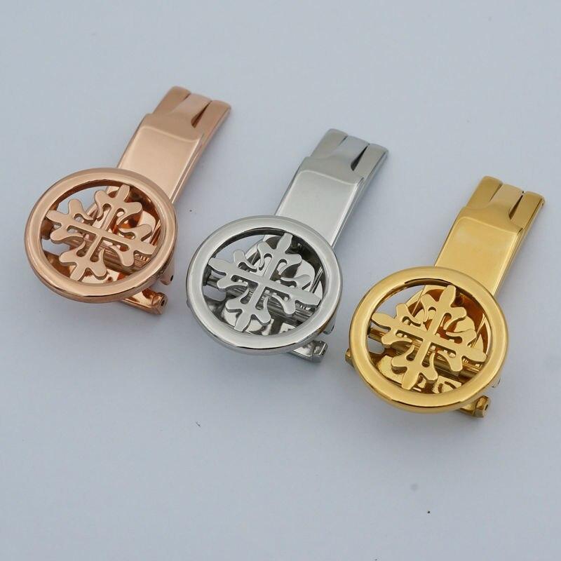Maikes neue hohe qualität edelstahl uhrenarmband-bügel verschluss 18mm 20mm gold silber faltschließe für patek
