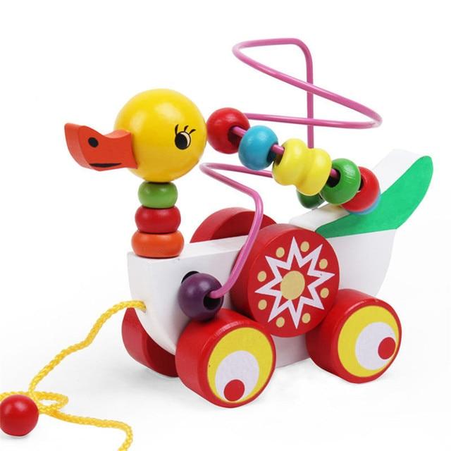 431597a6bbeb76 Baby Houten Speelgoed Zuigeling Eendje Trailer Speelgoed Kinderen peuter speelgoed  9 maanden tot 3 Jarigen Puzzel