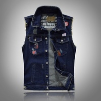 Grandwish Men S Sleeveless Jeans Jacket With Patches Mens Jeans Vest Sleeveless Embroidery Frayed Denim Vest