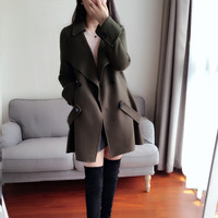 arlene sain custom women Army green Australia imported double sided wool cashmere coat free shipping 353