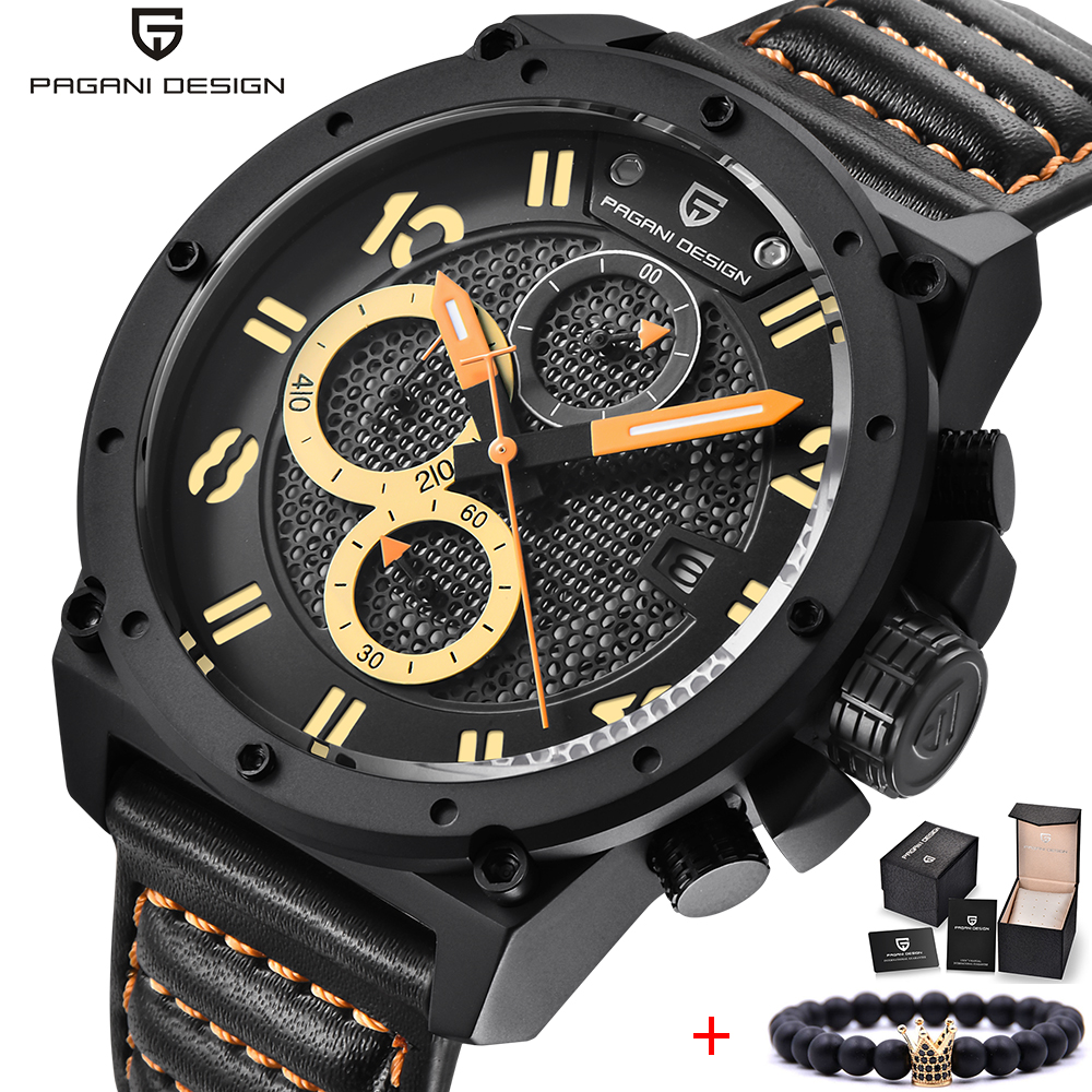 PAGANI DESIGN Top Brand Luxury Sport Watch Men Unique Design Outdoor Military Chronograph Leather Quartz Army Watch Male Clock pagani design men watch top brand luxury stainless steel leather sport military watch male quartz wrist watch men clock 2018 new