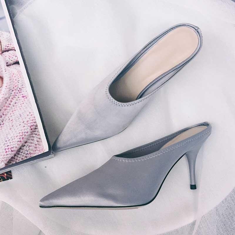 Satin De Sandales Gladiateur Pantoufles Chaussures Étrange Pointu Luxe Talon Argent Mules Femme Bout 2018 SE1AqwUcnU