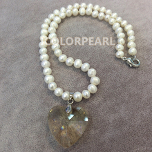 WEICOLOR 45cm Lovely Children's Jewelry! 7mm White Natural Freshwater Pearl Necklace, Heart Shaped Champagne Crystal Pendant !