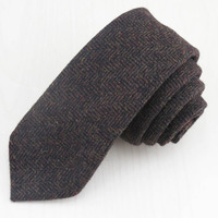 (1 pz/lotto) uomo marrone ondulato lana cravatta gessato l'atmosfera di alta qualità molto gentleman/La piccola numero