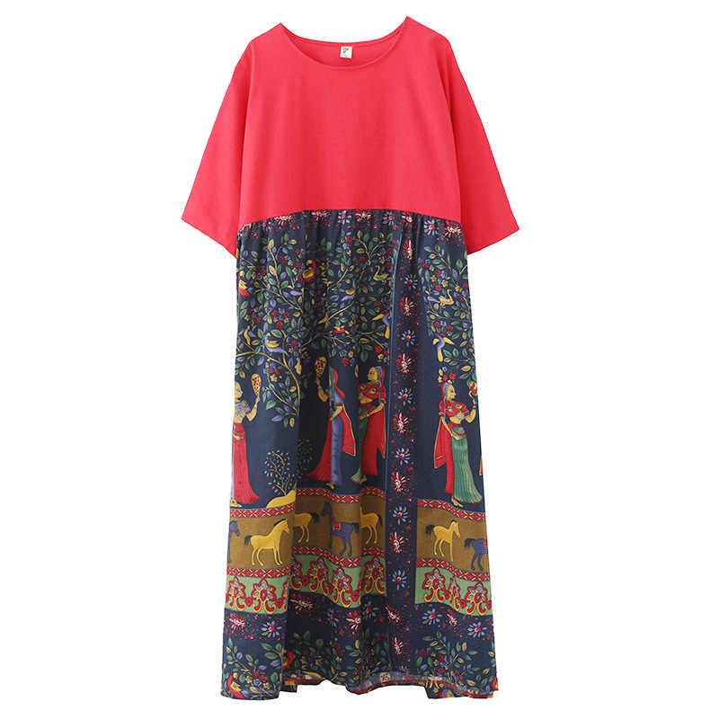 Новинка 2019, летнее винтажное женское платье, свободное, круглый вырез, короткий рукав, карманы, принт, удобное, корейское, размера плюс, Цветочное платье