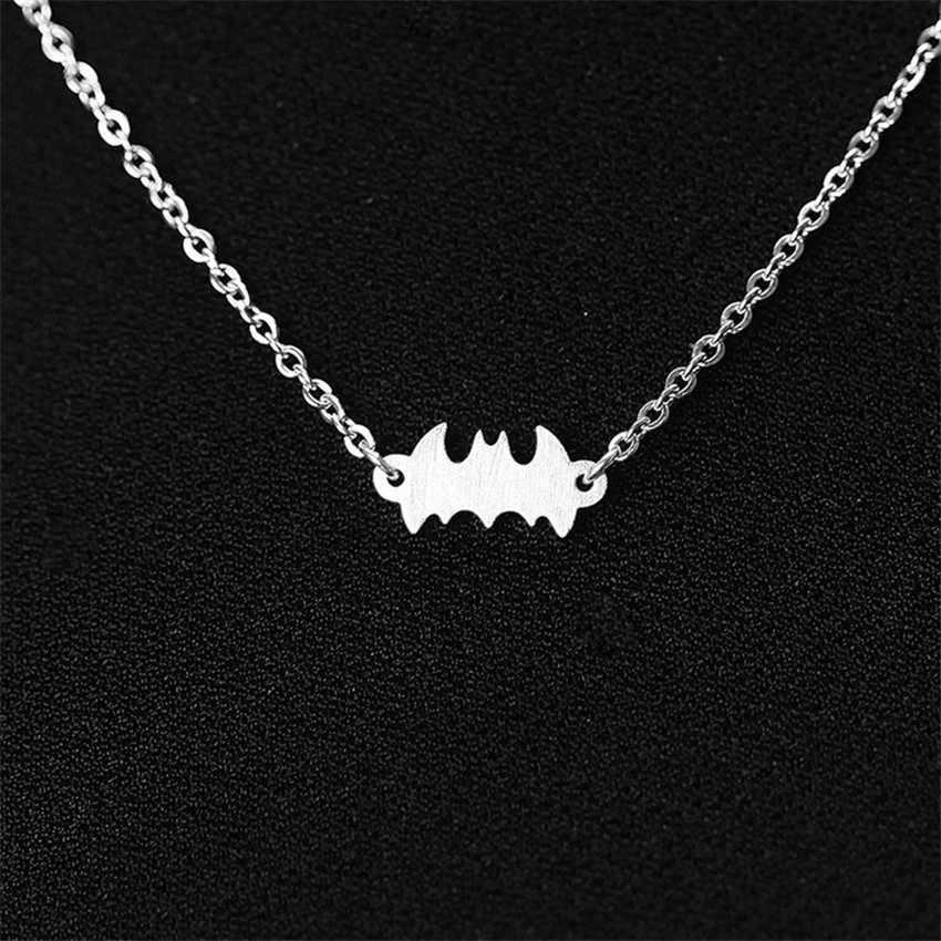 Ze stali nierdzewnej superbohaterów Batman wisiorek naszyjniki dla kobiet mężczyzn śliczne zwierząt mały Bat Choker naszyjnik proste biżuteria