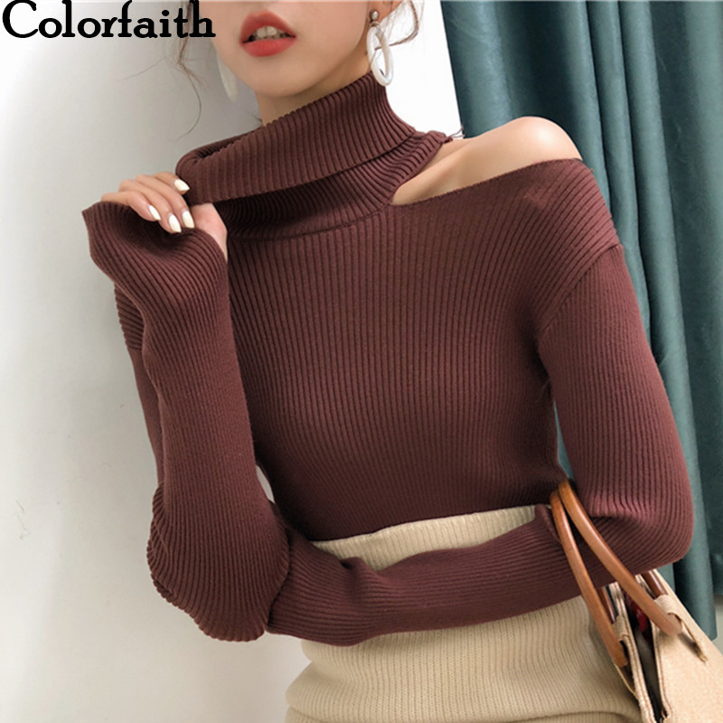 Colorfaith Women Pullovers Sweater 2019 Knitting Autumn Winter Turtleneck Sexy Hollow Out Off Shoulder Casual Ladies Tops SW755