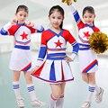 Niños académica dress conjunto uniformes de la escuela primaria chica cheerleader cheer líderes chico traje uniformes ropa de aeróbic