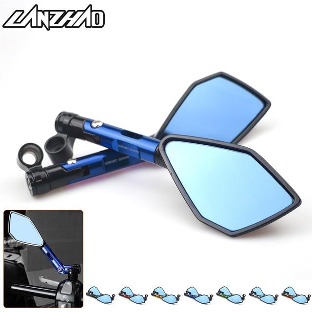 Espejos retrovisores universales de aluminio CNC para manillar de motocicleta, espejo antirreflejos azul para Honda, Yamaha, Suzuki, Scooter, ktm