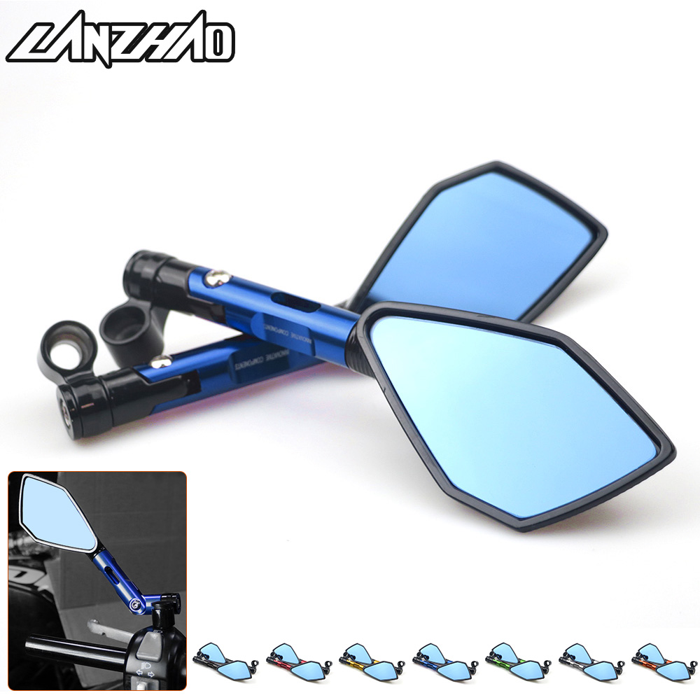 Universal CNC Aluminum Motorcycle Handlebar Rear View Mirrors Blue Anti-glare Mirror For Honda Yamaha Suzuki Scooter Ktm
