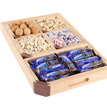 Creative sub compartment fruit snacks snack candy dry fruit box solid wood pallet wooden storage box set 7 pieces