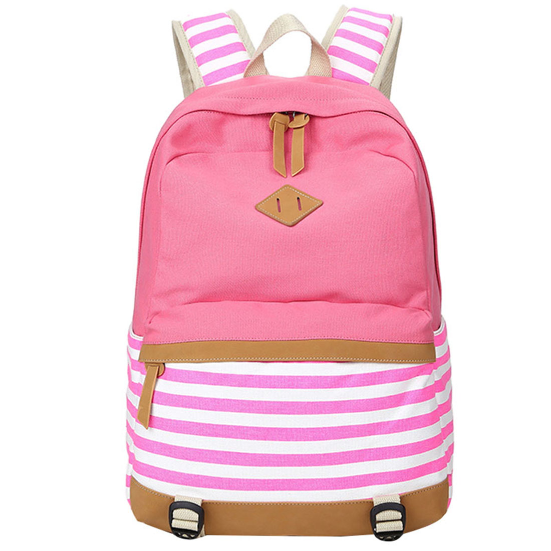 5 pcs of BEAU School bags backpack for girls teenagers cute canvas striped printing women backpack