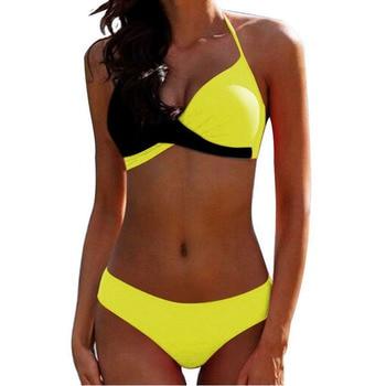 Padded Bra Bikinis 2019 Woman Halter Sexy Swimsuit Push Up Plus Size Swimwear Women Bathers Yellow Micro Bikini Bathing Suit XXL