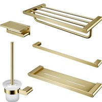 Brushed Gold Bathroom Accessories Set Toothbrush Mount Stainless Steel Towel Rack Bathroom Shelf Bathroom Five piece Pendant