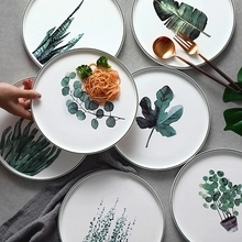 Nordic-style  Round Tray Green Plant Ceramic Hand-painted Fresh Western Food Plate Decorative Breakfast