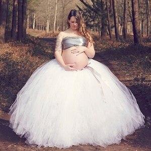 Image 1 - Модная Тюлевая юбка пачка ручной работы, Юбки для беременных, реквизит для фотосъемки, длинная бальная юбка пачка, юбка