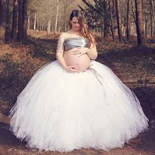 Fashion Handmade Bundle Tulle Tutu Skirts for Pregnant Woman Photography Props Full-Length Long Ballroom Tutu Faldas Saia Jupe(China)