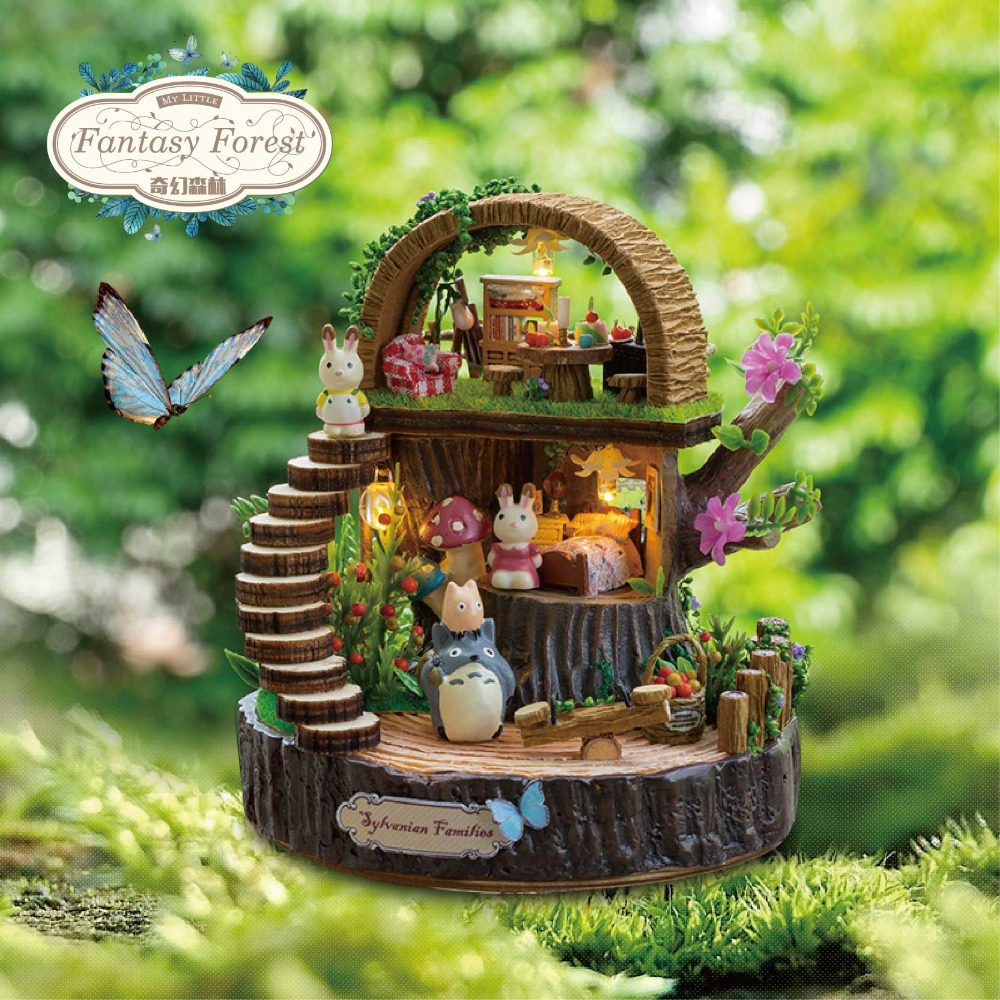 DIY Miniature Dollhouse FANTASY FOREST GIFT BOX med musikk Wooden Doll House Modell sett Barn leker Jenter Fødselsdag Gift Casa