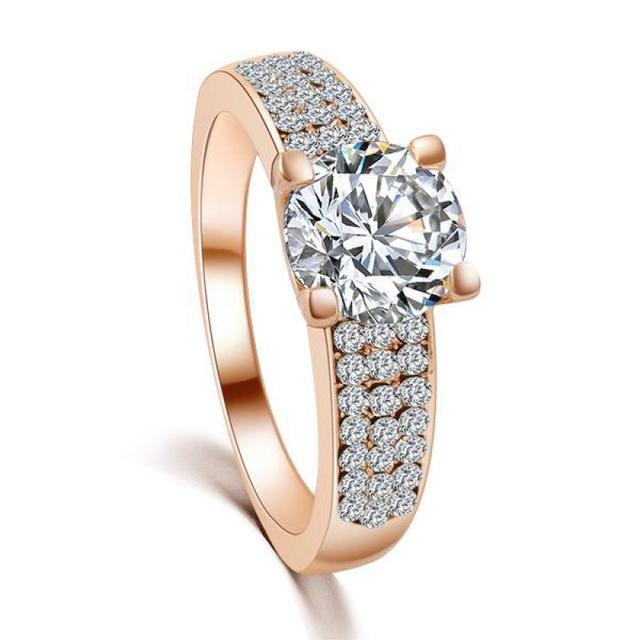 Perfect Princess Cut Solitaire Ring Pretty Rose Gold Color Micro Cz Halo  IL73