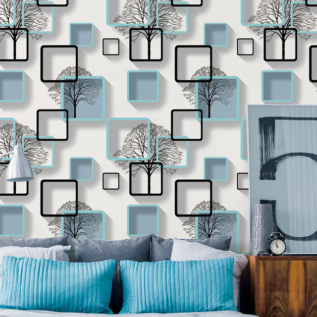 White Purple Blue Modern 3d Wallpaper For Living room Bedroom TV Background Home Decoration Squares Pattern Wall Paper Roll
