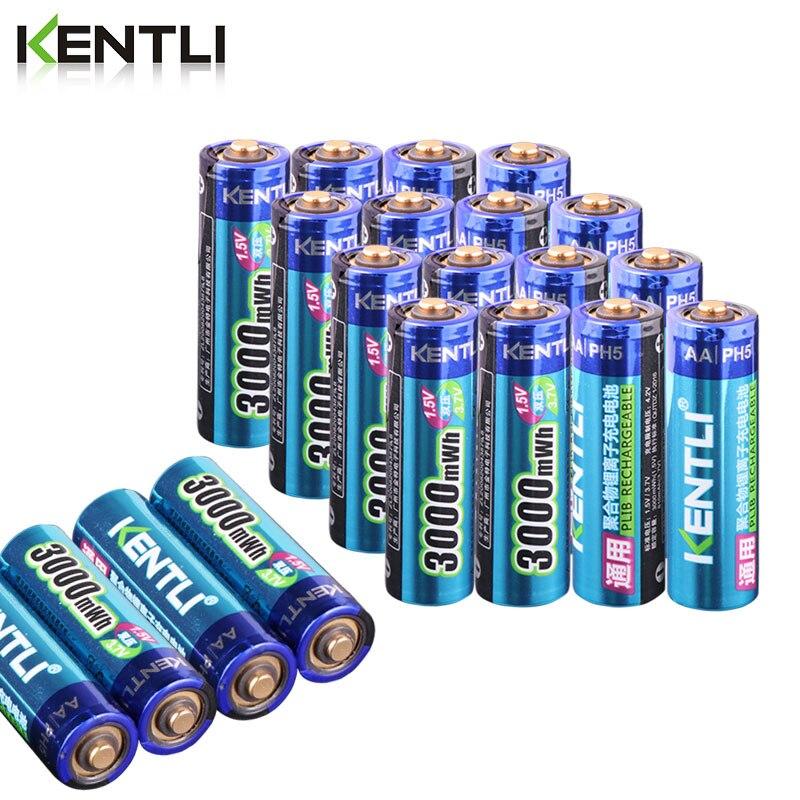 KENTLI 20 pièces 1.5 v 3000mWh sans effet mémoire aa batterie au lithium polymère li-ion rechargeable + chargeur USB 4 emplacements
