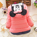 2016 New Children'S Winter Outerwear Girls Cartoon Minnie Coat Baby Plus Thick Wool Cotton Jacket 4 colors 0-2 years