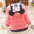 2016 Novas Crianças de Inverno Outerwear Meninas Casaco Bebê Dos Desenhos Animados Minnie Além de Lã Grossa Jaqueta de Algodão 4 cores 0-2 anos