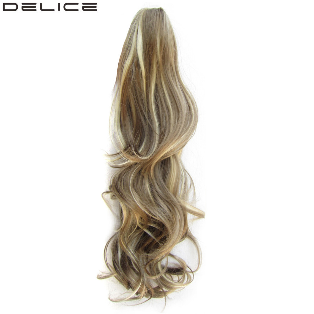Delice 24inch Women's Long Layered Curly Ponytail High Temperature Fiber Syntetisk Claw Ponytails Hair Piece 160g / pc