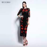 Famous Brand Runaway 2016 Newest Spring Fashion Slim Elegant Lace Ebroidery Red Flower Vintage Black Casual