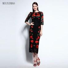 Известный бренд Runaway 2016 Новые Весна Мода Тонкий Элегантный Кружева Ebroidery Красный Цветок Урожай Черный Случайные Длинные Платья Женщин