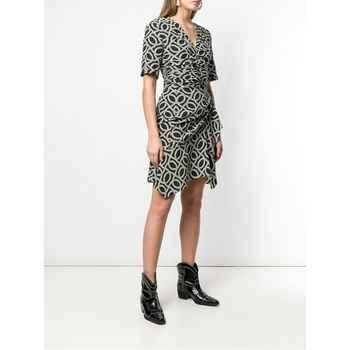 Woman Silk PAISLEY Print Short DRESS Asymmetric Hem with Ruffles Short Sleeved Creased Waist Zipper bACK - DISCOUNT ITEM  5 OFF Women\'s Clothing