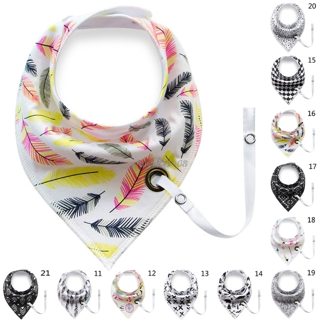 Baby Infant Toddler Cotton Triangle Bib Saliva Towel Head Scarf Pacifier Clip Baby Gift