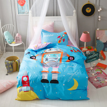 TUTUBIRD-kids cartoon robot bedding set 100% cotton blue cute duvet cover twin size bedsheet bedlinen pillow cover