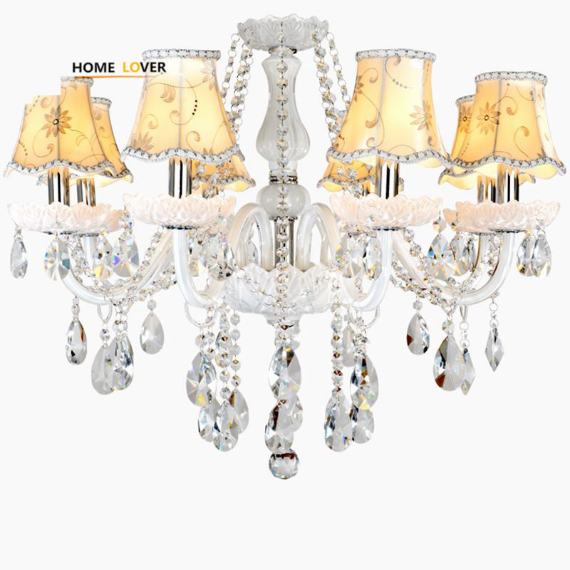 Led Chandeliers for Dining room Bedroom Kitchen White Color K9 Crystal Chandelier light For Home Decoration lustres para quarto led chandeliers for dining room bedroom kitchen white color k9 crystal chandelier light for home decoration lustres para quarto