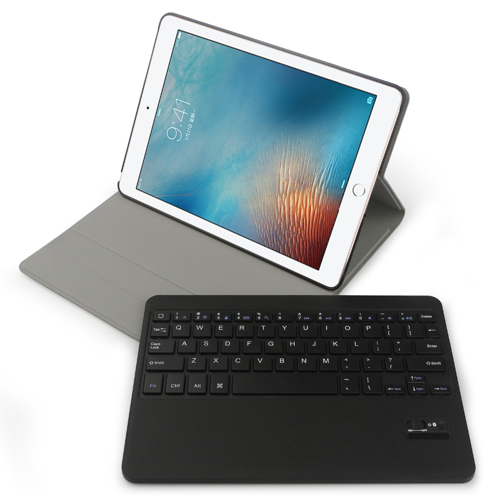 Stand case for iPad Pro 9.7 with Keyboard Multi-Angles Smart Cover Holder Stand Case for iPad Pro 9.7 with Bluetooth keyboard detachable official removable original metal keyboard station stand case cover