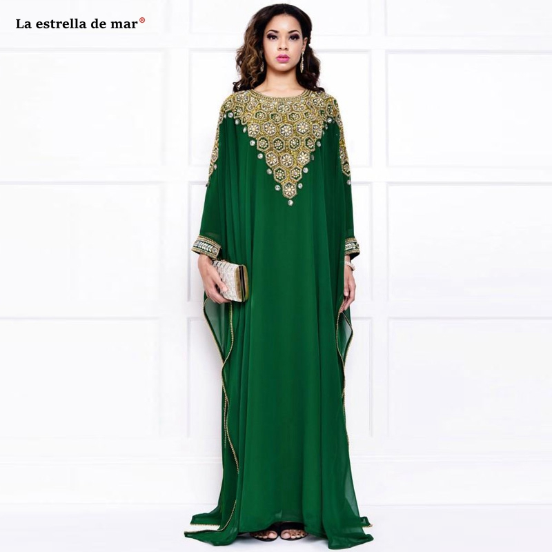 Abendkleider2019 New Chiffon Crystal Long Sleeve Green Dubai Muslim Evening Dress Long Caftan Marocain Custom Prom Dresses