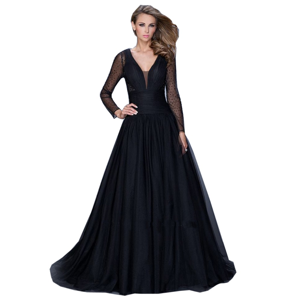 Black dress for wedding party - Black Prom Dresses Long 2017 Puffy Dress Long Sleeve Wedding Party Gowns V Back Prom Dress Evening Gowns Vestido De Festa Curto