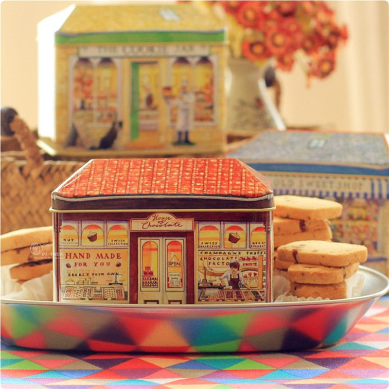 कुकी बिस्किट कैंडी कंटेनर किचन स्टोरेज आयरन बॉक्स 3pcs / लॉट के लिए विंटेज यूरोपीय सजावटी बेकरी टिन बॉक्स उपहार पैकिंग