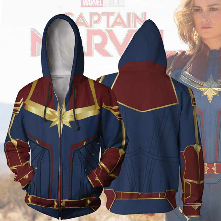 captain marvel hoodie carol danvers cosplay costume movie hoodie  sweatshirts jackets coats men women new top