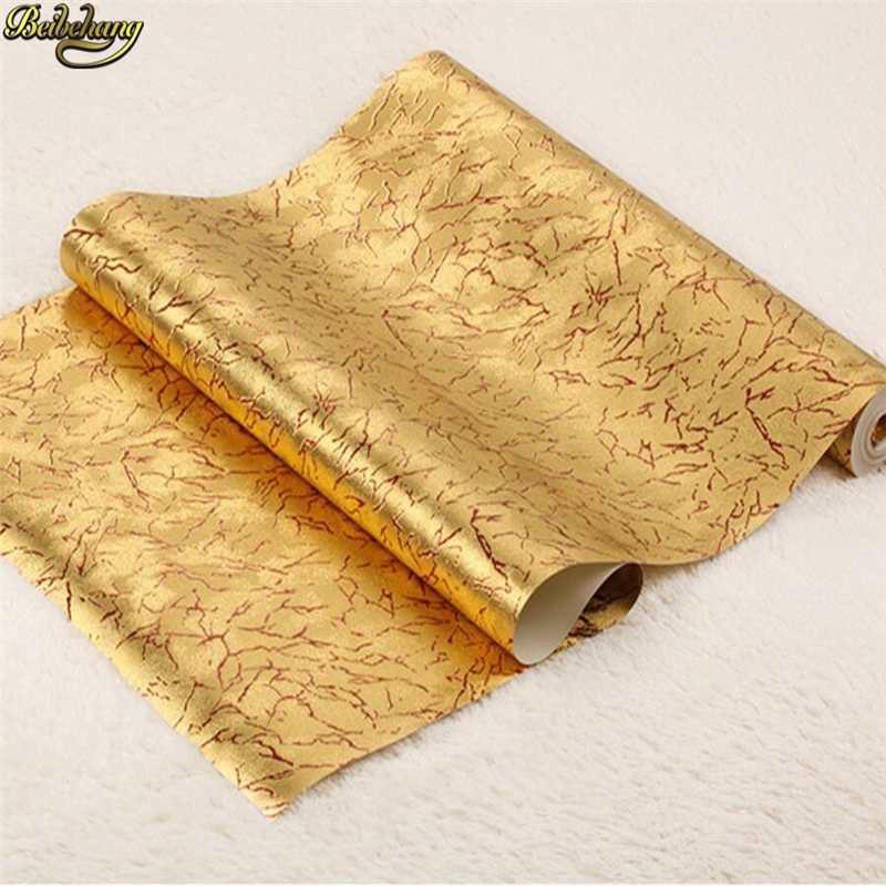 beibehang Modern simple turtle crack gold foil wallpaper bedroom living room KTV bar clubhouse background papel de parede the 2016 gold foil chinese dragon background wallpaper