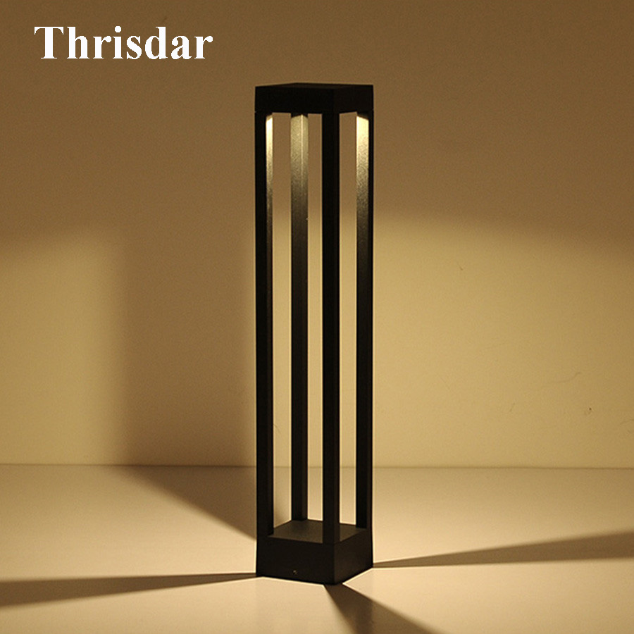 Thrisdar 2pcs/Lot Outdoor Garden Landscape Pillar Lawn Light Villa Pathway Lawn Post Light Garden Park LED bollard Lawn light villa lawn lamp post light garden pathway 220v 110v outdoor landscape lighting decoration waterproof lights for the garden