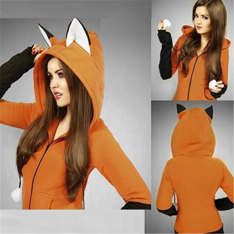 New Fox Sweatshirt Women Hoodies Long Sleeve Cosplay Costume Rabbit Ear Hooded Sweatshirts Female Lady Autumn Hoodie Jacket Coat